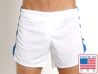 American Jock Sprint Running Short w/Built-In Jock White/Royal