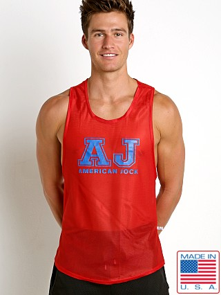 American Jock Sprint Javalin Sheer Mesh Tank Red