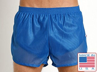 Model in royal American Jock Sprint Sheer Trainer Short