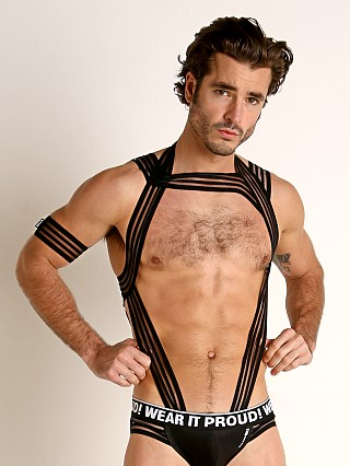 Model in black STUD Plato Full Body Harness