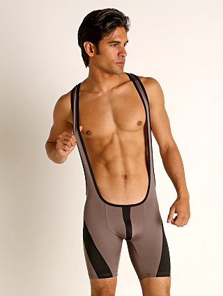 Model in grey Cell Block 13 Cyclone 2.0 Singlet