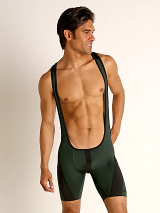 Model in green Cell Block 13 Cyclone 2.0 Singlet