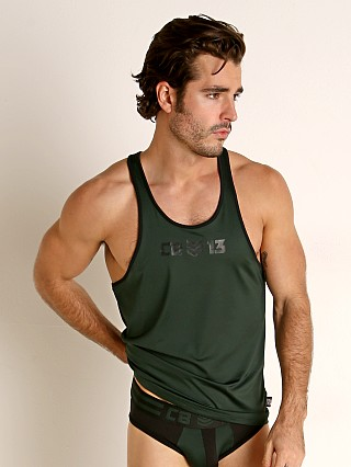 Model in green Cell Block 13 Cyclone 2.0 Tank Top