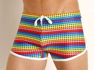 Model in retro geo 2xist Pride Jogger Sliq Cabo Swim Trunk