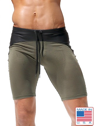 Rufskin Michka Stretch Mesh/Rubber Workout Shorts Olive