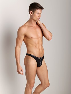 Gregg Homme Male Mesh Lace Up Thong Black