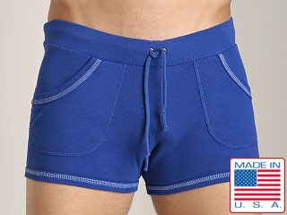 Model in cadet blue Go Softwear 100% Cotton Sport Short