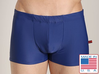 Model in navy Go Softwear Enhancing Square Cut Swim Trunk
