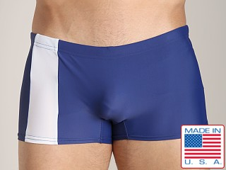 Model in navy/white Go Softwear Square Cut C-Ring Trunk