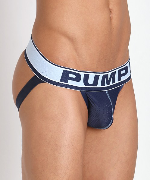 Pump! Blue Steel Mesh Jockstrap Navy/Baby Blue