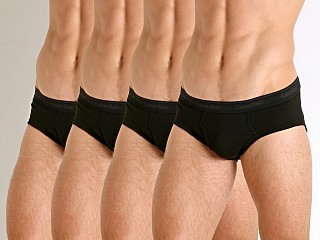 Model in black Calvin Klein Cotton Classics Hip Brief 4-Pack