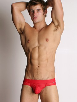 Tulio Power Pouch Sheer Stripe Briefs Red
