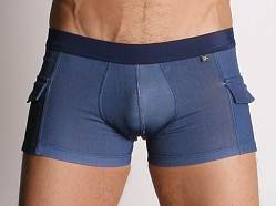Tulio Denim Look Square Cut Swim Trunks