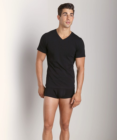 Naked Cotton Classic V Neck T-Shirt Black