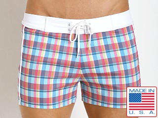 Sauvage Como Italia Plaid Swim Trunks Aqua
