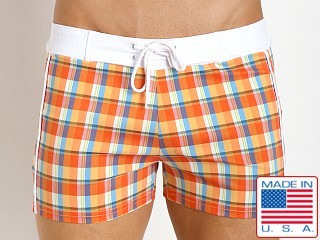 Sauvage Como Italia Plaid Swim Trunks Orange