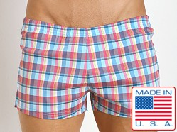 Sauvage Italian Woven Swim Shorts Aqua Plaid