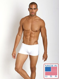 Sauvage Textured Nylon Lycra Square Cut Swim White/Steel