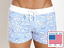 Sauvage Italian Lycra Floral Swim Trunk Atlantic Flower