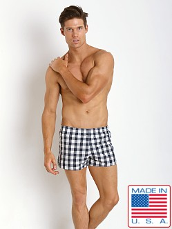 Sauvage La Jolla Retro Nylon Swim Shorts Navy Plaid