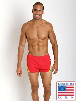 Sauvage European Nylon Lycra Color Block Swim Trunk Red