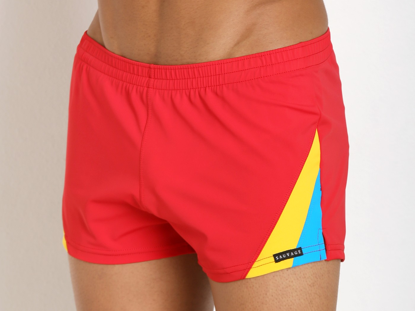 bb006a1f755f6 Sauvage European Nylon Lycra Color Block Swim Trunk Red 187RYT at International  Jock