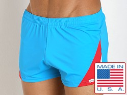 Sauvage European Nylon Lycra Color Block Swim Trunk Turquoise