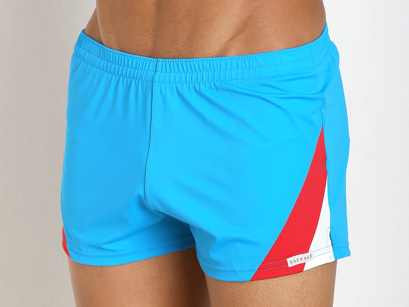 f236b09bf8f08 Sauvage European Nylon Lycra Color Block Swim Trunk Turquoise 187TRW at International  Jock