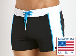 Sauvage Sports Mesh Overlay Swim Trunk Black/Turquoise