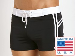 Sauvage Mariner Stripes Italian Lycra Swim Trunk Black