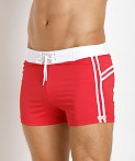 Sauvage Mariner Stripes Italian Lycra Swim Trunk Red, view 3