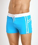 Sauvage Mariner Stripes Italian Lycra Swim Trunk Turquoise, view 3