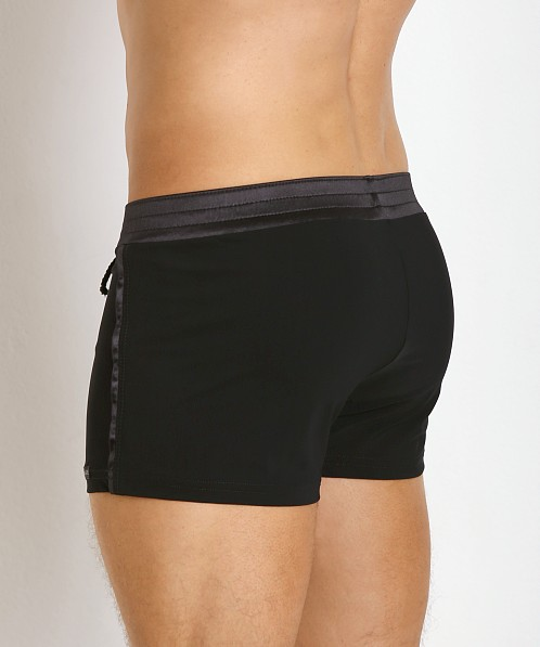 Sauvage Tuxedo Black Satin Band Swim Trunk Black