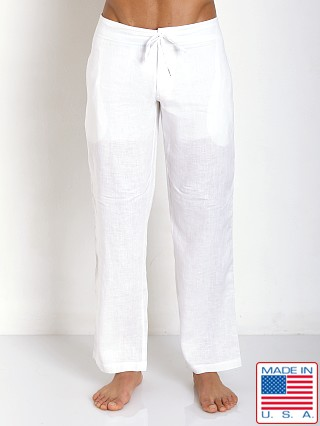 Sauvage 100% Laundered Roma Linen Tropical Pant White