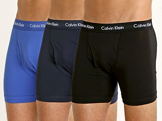Model in black/blue shadow/cobalt water Calvin Klein Cotton Stretch Boxer Brief 3-Pack Black/Blue/Cobalt
