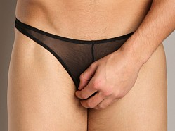Cover Male Thong Sheer Black