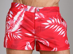 Diesel Coralrif Palm Tree Swim Shorts Red