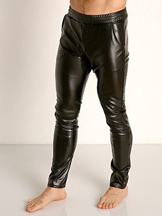Model in black TOF Paris Fetish Vegan Leather Sweat Pant