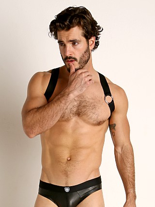 Model in black TOF Paris Party Boy Elastic Harness