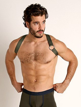 Model in khaki TOF Paris Party Boy Elastic Harness