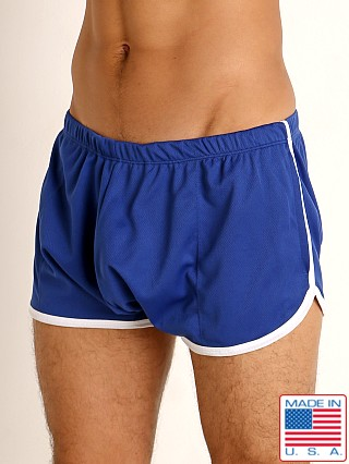 Model in royal/white Rick Majors Pique Mesh Bulge Shorts