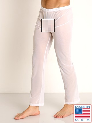 Model in white Rick Majors Sheer Mesh Lounge Pant
