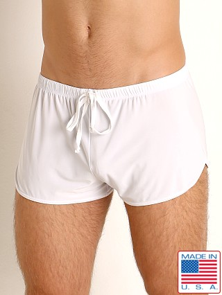 Model in white Rick Majors Glossy Flow Lounge Shorts