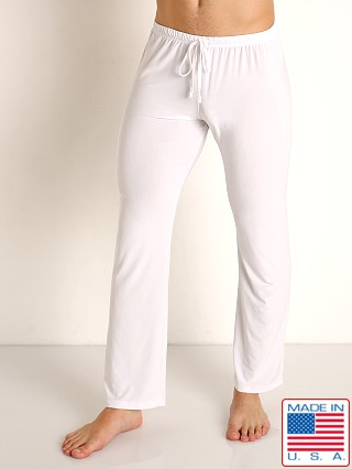 Model in white Rick Majors Glossy Flow Lounge Pant