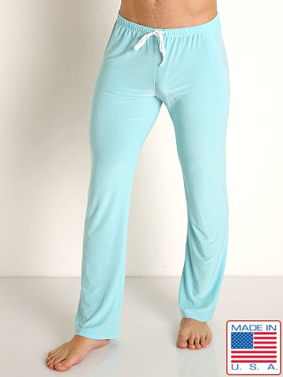 Model in sky blue Rick Majors Glossy Flow Lounge Pant