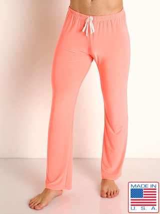 Model in coral Rick Majors Glossy Flow Lounge Pant
