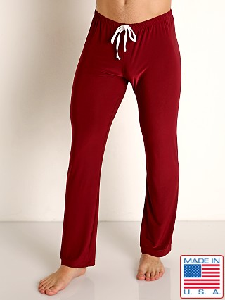 Model in burgundy Rick Majors Glossy Flow Lounge Pant