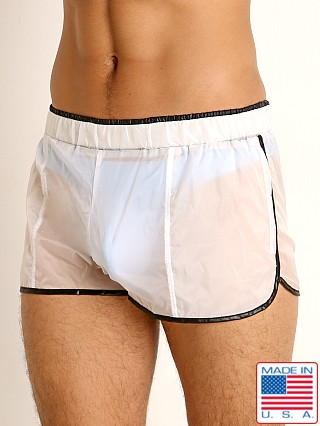 Model in white/black Rick Majors Sheer Ice Nylon Shorts