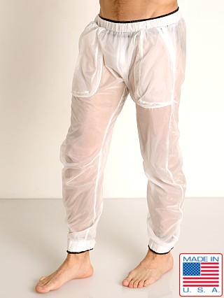 Model in white/black Rick Majors Sheer Ice Nylon Lounge Pant