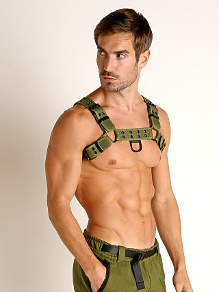 Model in green Nasty Pig Renegade Bulldog Harness